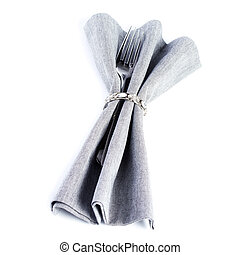 Linen textile napkin with cutlery, Serving table setting...