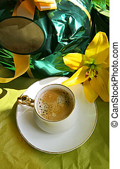 mother day - Morning still life with coffee and flowers for...