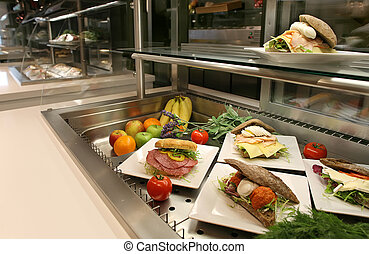 lunch vitrine  - hotel or restaurant vitrine with lunch