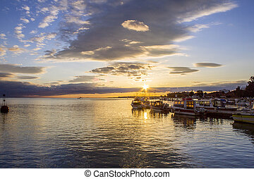 Sunset at Olhao, capital of Ria Formosa wetlands natural...