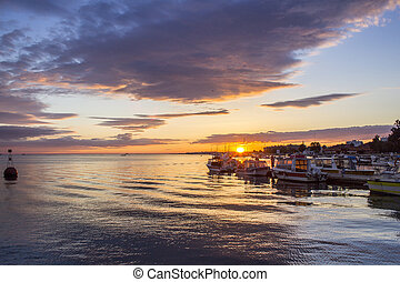 Twilight sunset at Ria Formosa - Sunset at Olhao, capital of...