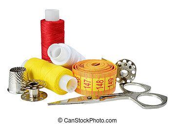 Needlework - Sewing kit for needlework on white background