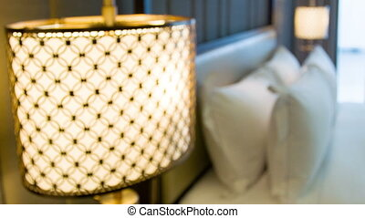 Luxury hotel room interior view - Light in luxury hotel room...