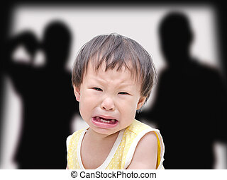 Crying illtle asian girl with her fighting parents in the backgr