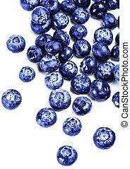 Fresh blueberries isolated on white background close up....