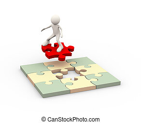 3d man flying on puzzle piece