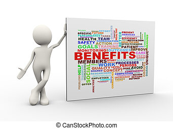3d man standing with benefits wordcloud word tags - 3d...