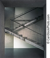 iron stairs architectonic detail made from concreate and zinc metal