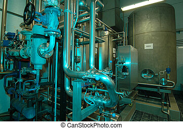 industry interior with lot of pipe ...
