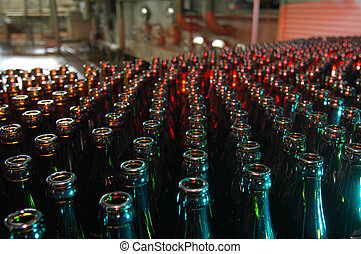 lots of beer bottles in a brewery