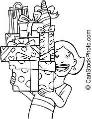 Gift Stack line art