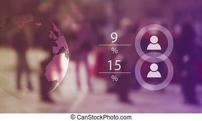 World Population Data Presentation Concept with Blur People...