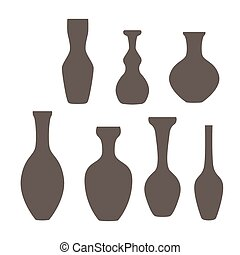 Set of vase icon in gray colors