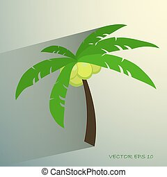 Palm tree isolated on white photo-realistic vector illustration