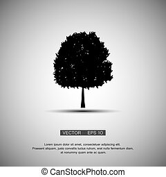 black tree silhouette isolated on white background, vector...