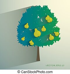vector pear tree isolated on light background Eps 10