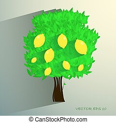 lemon tree isolated on White background. Vector illustration...