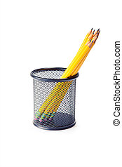 pencils - lead pencils in metal pot on a white background