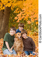 Boys in the Fall Leaves With the Dog