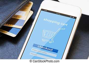 mobile shopping concept - virtual shop on phone screen with...