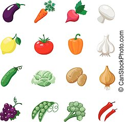 Vegetables icons flat set with potatoes broccoli celery cabbage cucumber isolated vector illustration