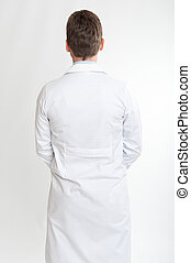 Rear view of a man on lab coat