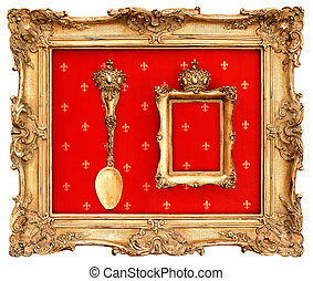 old golden frame with red background
