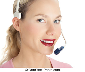 Customer Support - Customer support woman wearing headset.
