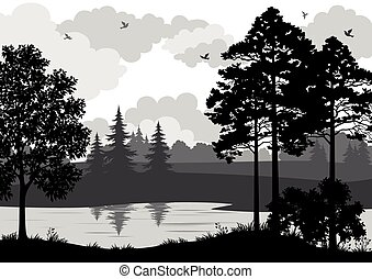 Landscape, Trees, River and Birds Silhouette - Landscape,...