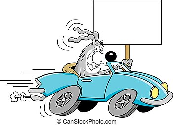Cartoon dog driving a car and holdi - Cartoon illustration...