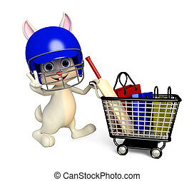 Easter bunny with shopping trolley - 3d Illustration of...