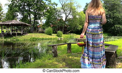 pregnant woman relax park - happy pregnant woman have picnic...