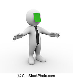 3d man with green sticky note - 3d illustration of man with...