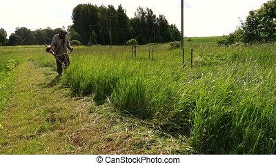 villager cut meadow work - villager cut tall grass quietly...
