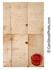 grunge antique paper sheet with red wax seal isolated on...