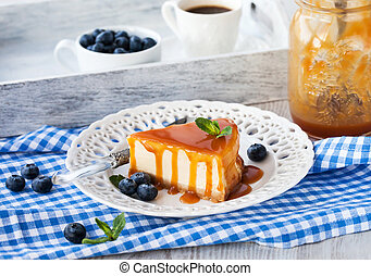 Cheesecake with caramel sauce - Piece of delicious...