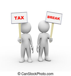 3d people holding sign board banner tax break - 3d...