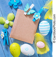 easter background, easter eggs on blue table