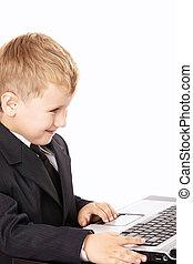 poco, niño, computador portatil