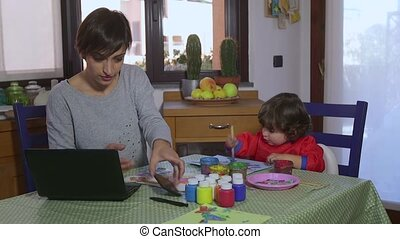 Woman Multitasking Mom Child Baby - People, family life,...
