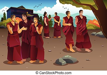 Buddhist monks in Tibet temples - A vector illustration of...