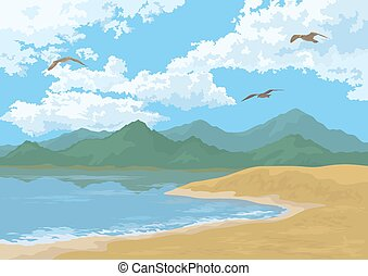 Sea Landscape with Mountains and Birds - Sea Landscape with...