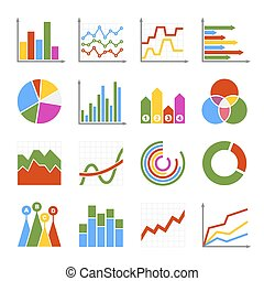 Business Graph and Diagram Icons Set. Vector illustration
