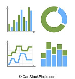 Blue and Green Business Graph Icons Set. Vector - Business...