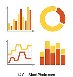Red and Orange Business Graph Diagram Icons Set. Vector -...