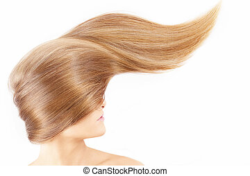 Girl with beautiful hair - Smooth surface of a fair hair on...