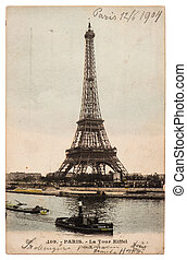 vintage postcard with picture from Eiffel Tower in Paris -...