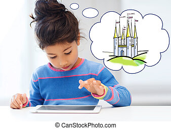 little girl with tablet pc at home - technology, childhood,...