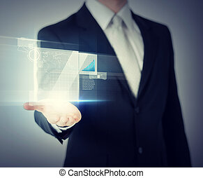 businessman hand showing chart on virtual screen