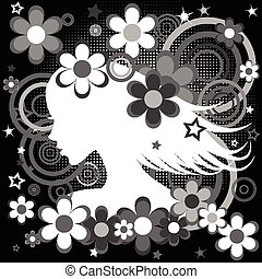 Abstract black and white backgrund with woman profile, flowers and circles